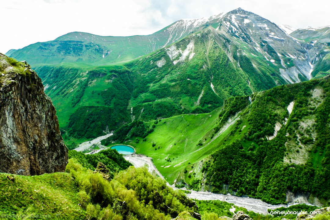Stunning view from the top of Gudauri Mountains in Georgia