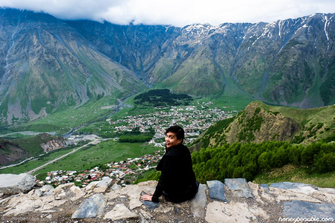View of the Caucasus Mountain Range from the top of Kazbegi in Georgia